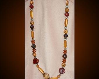Earth Tone Vintage Bead Necklace