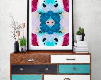 Abstract painting, abstract art, resin art, wall print, modern, abstract wall art, geometirc art print, magenta, pink, blue, pastel wall art
