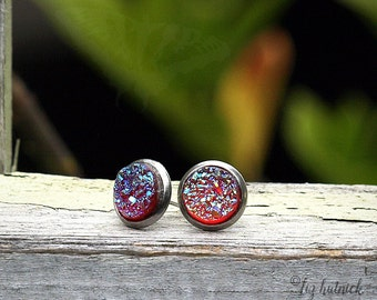 Faux Druzy Studs, Stainless Steel Posts, Red Rainbow Glitter Earrings, 8mm