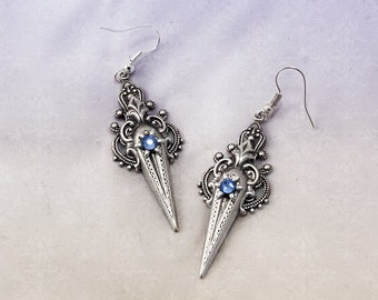 Victorian Swarovski Earrings - Silver Plated Victorian Earrings - Romantic Victorian Jewelry