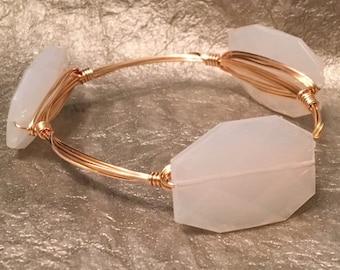 White acrylic bead wire-wrapped bangle bracelet