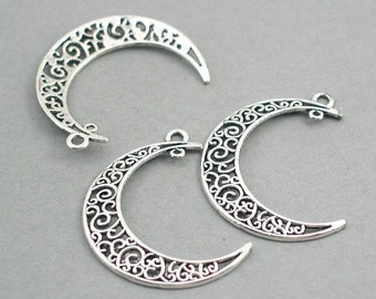 6 Moon Charm Connectors, Large Crescent Moon Link pendant beads, Filigree Crescent Moon, Antique Silver 31X40mm CM0741S