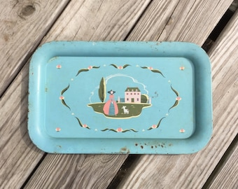 Vintage Serving Tray Blue Tray Little Lamb Decorative Tray
