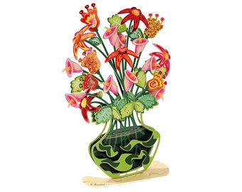 Metal Flower Decor, Waves Flowers Vase, 3D Effect Sculpture ,Home Decor, Metal Sculpture, Flowers Vase Sculpture, Sculpture Vase, Metal Art