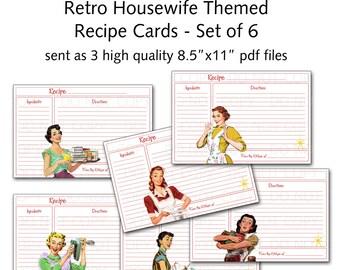 "Printable 1950's Retro Housewife 4""x6"" Recipe Cards - Set of 6 designs"