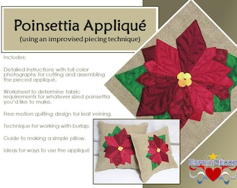 Pattern - Poinsettia Appliqued Pillow