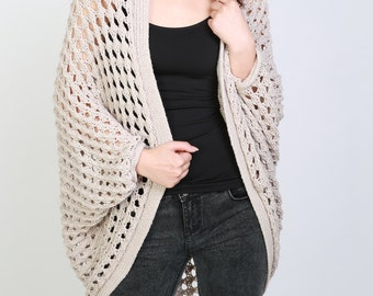 Hand Knit sweater Long cardigan light wheat sweater top wool sweater