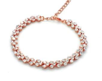 Rose Gold bridesmaid bracelet, bridesmaid jewelry, bridal party bracelets, rose gold bridesmaid gift, wedding jewelry, bridal bracelet