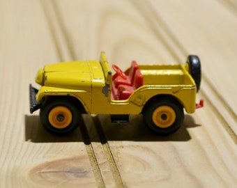 Vintage Yellow Jeep Matchbox Series No. 72 Made in England by Lesney Collectible Toy Car TV Movie Photo Prop