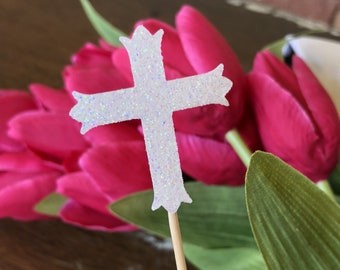 120 Ivory Cross Cupcake Toppers Cake Decorations Wedding First Holy Communion Baptism Confirmation
