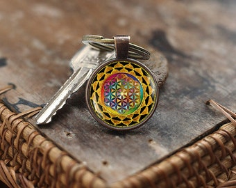 Colorful Flower of Life Keychain, Colorful mandala Keychain, Geometry Keychain, Yoga Keychain, spiritual mandala keychain