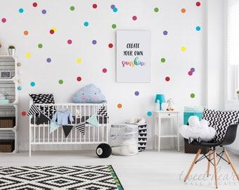 "2"" Rainbow Polka Dot Decals, Rainbow Wall Stickers, Confetti Polka Dot Wall Decals, Vinyl Wall Decal Polka Dots, Set of 70"