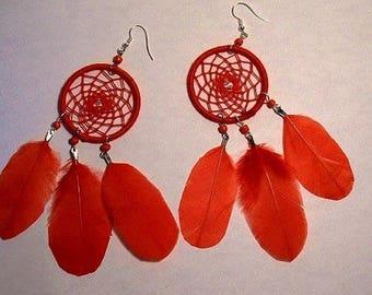Earrings dream catcher or dream catcher big red model