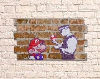 Industrial Naughty Mario No Frame Brick Wall Graffiti Style Artwork Steampunk & 3D Ceramic Brick Panels. Wall Hanging Kit Supplied. UK MADE