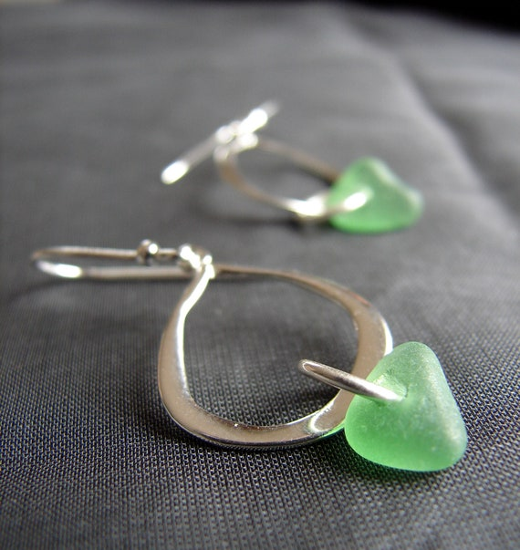 Waterline sea glass earrings in green