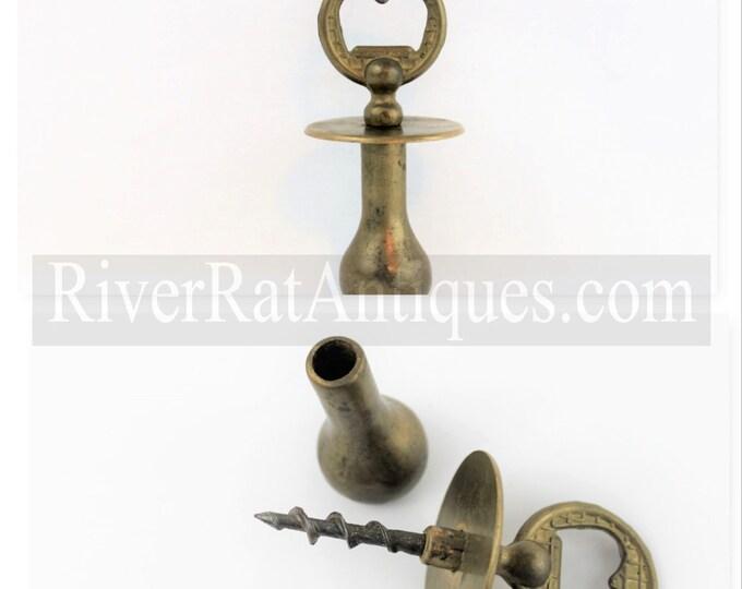 Vintage Solid Brass Bottle Opener with Hidden Corkscrew and Muddler