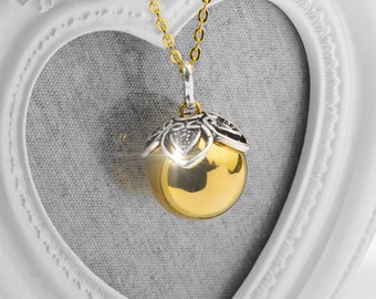 Harmony Ball LORI Gold Bola Ball Pendant & Necklace - Pregnancy Maternity Mexican Angel Caller Mum to Be