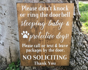 Rustic Home Decor,No Soliciting Sign,Wood Sign,Sleeping Baby Sign,Protective Dogs Sign,Do Not Knock Sign,Door Sign,Farmhouse Decor,Baby Sign