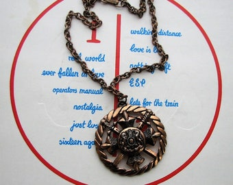 1950s 60s vintage copper medallion necklace . large sword and family crest pendant necklace, coat of arms necklace