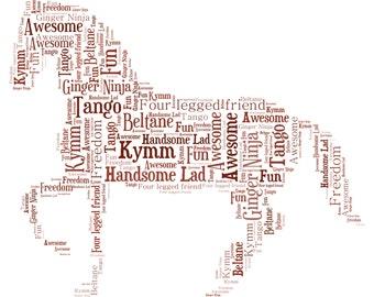 Personalised Word Art / Word Cloud - Horse - Digital JPEG