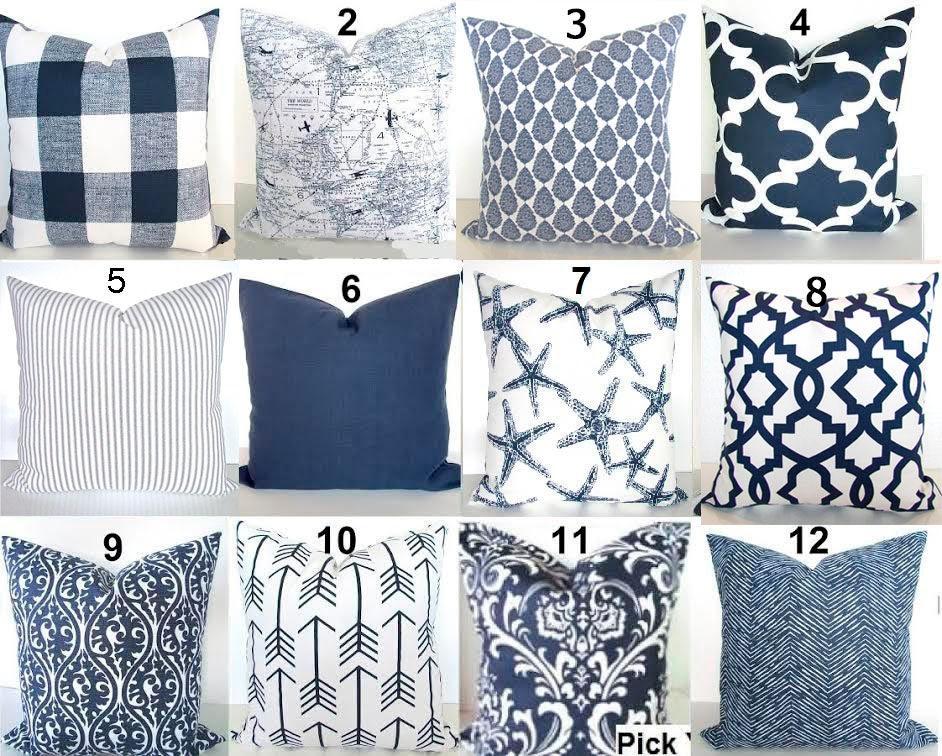 Blue Pillows Blue Throw Pillows Navy Blue Decorative Pillow