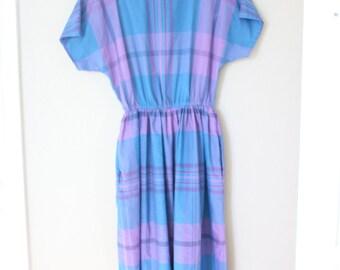 vintage 1980s purple & blue plaid pocket dress *