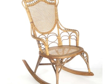 Delightful Antique Wicker Rocking Chair Wakefield Rattan Co Label 19th C Natural Ladies