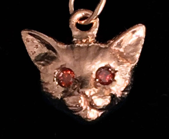 Rose Gold and Cognac Diamond Kitty Cat Charm