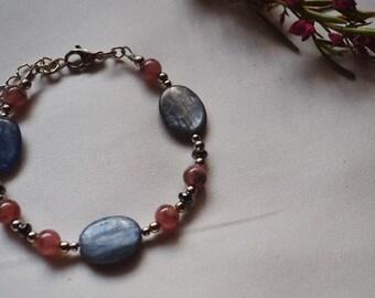 Blue kyanite and rhodonite bracelet