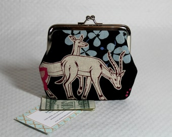 Coin purse - Change Purse - Money Purse - Animal coin purse - Black Coin Purse - Coin Wallet - Antelope Coin Purse