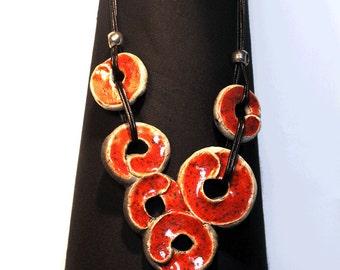 Red and black Raku ceramic necklace