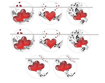 25mm, 4 pairs of music and heart cabochons