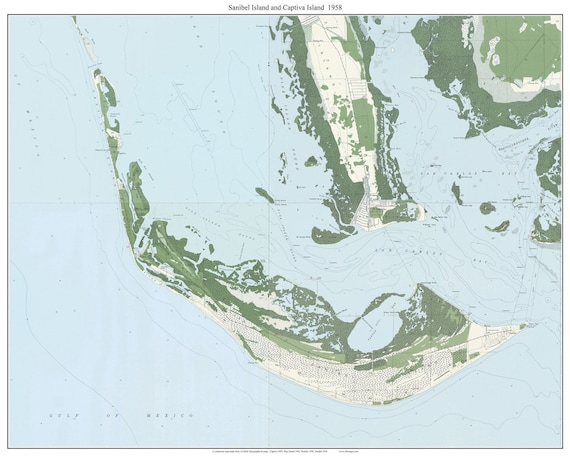 Sanibel Island Captiva Island Florida 1958 Old Topo Map A