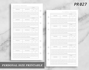 Personal Size Printable TV Series Tracker Log Digital Digital Download PR027