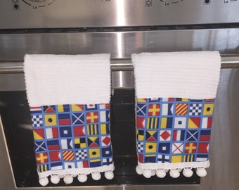 Nautical Sailing Flags Pompom Kitchen Towel Set Sailboat