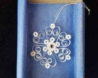 Quilled Snowflake Ornament - Winter Decorating - White