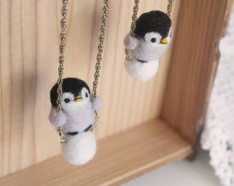 Penguin Swing needle felted necklace