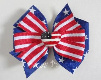 Patriotic Bow - 4th Red White and Blue Pinwheel - No Slip Velvet Grip Hair Clip
