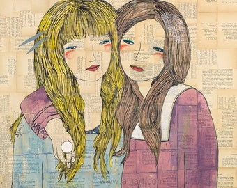 Best Friend Modern Art Portrait, Happy Fun Bright Archival Poster Print, Sisters Twins Collaged Acrylic Painting Vintage Text Book Pages