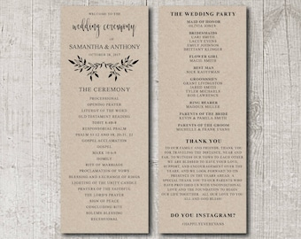 Rustic Wedding Program Printable, Printable Wedding Program, DIY Wedding Program, Wedding Program Template, Printable Program, Rustic invite