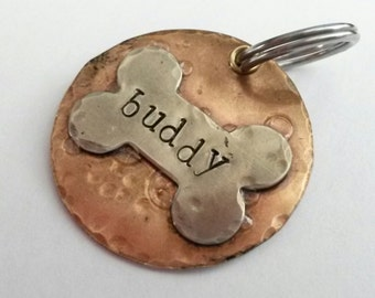 Pet ID Tag - Dog Tag - Personalized Pet - Pet Accessories - Dog Collar Tag - Hand Stamped Pet Tag - Customized Dog Tag with Dog Bone