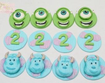 12x Monster Edible Fondant Cupcake Toppers