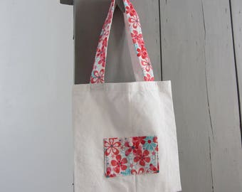 Bag tote bag floral turquoise and pink
