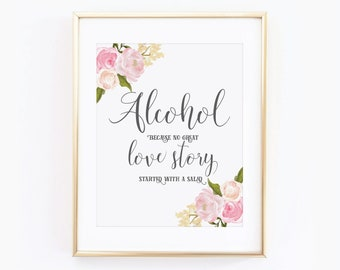 Printable Wedding Sign Alcohol Sign Floral Wedding Sign Wedding Alcohol Sign Printable Alcohol Sign Printable Wedding Signage #CL110