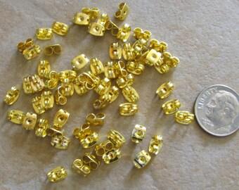 50 or 100 Pc Butterfly Earnuts Earring Stopper Backs Gold Plated