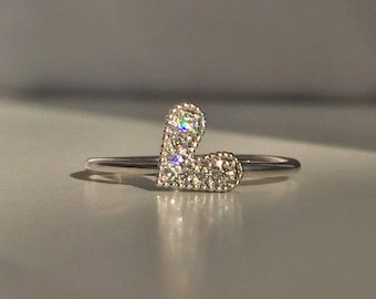 Diamond Heart Ring - 14k or 18k Yellow, Rose or White Gold, Gold Heart Stack Ring, Valentine's Ring