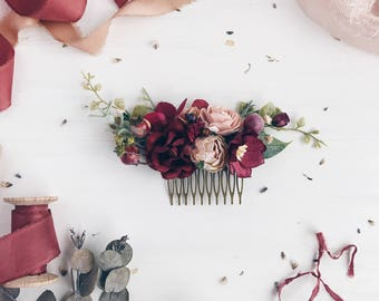 Burgundy flower Hair comb, Deep red Bridal hair comb, Wedding hair comb, Bridal flower headpiece, Wedding headpiece, Winter wedding