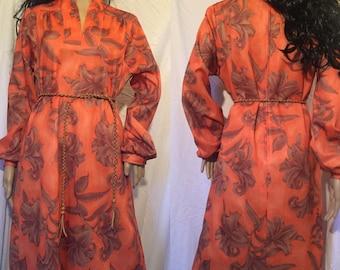 Vintage Hippie BOHO Dress Earthy Floral Gypsy Hawaiian 60s 70s M-XL