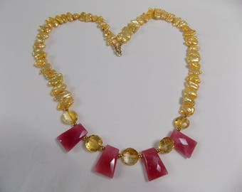 Keishi Pearl, Faceted Citrine, Faceted Ruby Jade Necklace