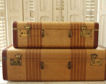 Antique Striped Suitcase Pair, Matching Vintage Luggage 1930's/1940's Stacking Set, Home Decor Storage, Hard-side Striped Tweed